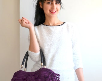 Crochet Bag Handmade Purple  Knit Bag, Celebrity Style,Crochet winter  bag- shoulder bag- crochet bag  Valentines day gift