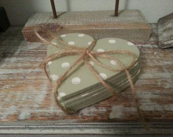 Handmade Wooden Heart Shaped Coasters - Set of 6