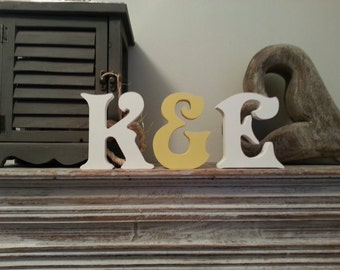 Set of 3 - Handpainted Freestanding Wedding Letters, Photo Props - 20cm