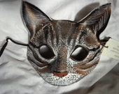 Leather Mask Tabby Cat Brown Gray