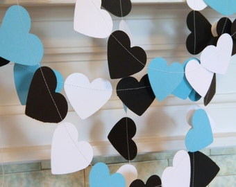 Aqua Bridal shower Decorations - 10ft Aqua Black & White Heart garland - Wedding Decorations - You Pick the Color and size