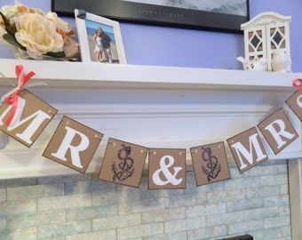 Nautical Mr and Mrs Wedding Banner/ beach Wedding Garland / Nautical Wedding/ Mr and Mrs Sign/ Photo Prop You Pick the Colors