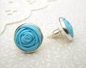 Aqua Blue Earrings - Silver Post Fabric Rose Earrings - Fresh Water Glacier