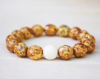 Beaded Bracelets, Czech Glass Beads on Stretch Elastic