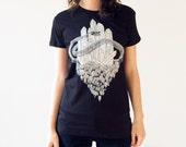 Crystals and Snake Screen Print Punk T-Shirt Black