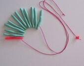 Electric neon pink pop mint pastel mix long sea anemone necklace