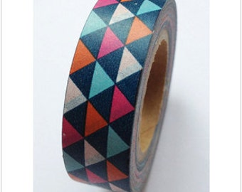 Washi Tape Multi Colored Triangle Washi Tape Pink, Peach, Blue, Orange 5.5 yards 5 meters 15mm Colorful Geometric