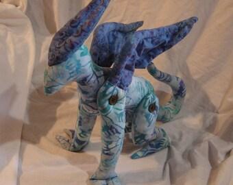 Blue Night Gaunt Lovecraft horror plush doll handmade original pattern, wing wings monster