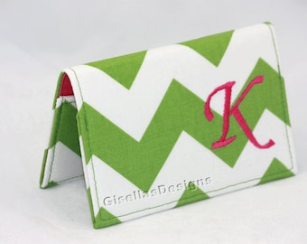 Green and pink Business card holder, Personalized Business card holder, custom made business card holder, women gift idea.