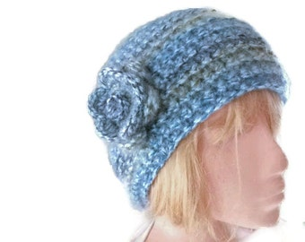 Womans Chunky Beanie Hat Hand Crocheted in Blues and Greens. Ladies Fashion Accessories. Winter Warmers