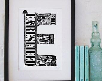 Best of Earlsfield - London print - London poster - London Art - Typographic Print - London illustration - letter art - South London poster