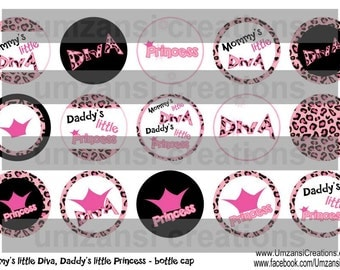 "15 Mommy's Little Diva/Daddy's Little Princess Cheetah Digital Download for 1"" Bottle Caps (4x6)"