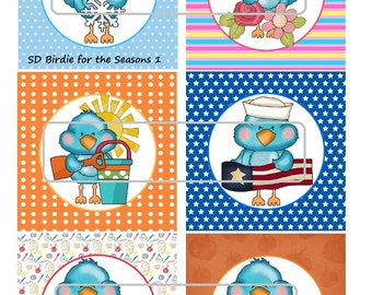 "DIY Printable ""Birdie for the Seasons"" Shrinkable Digital Images (JPEG File)"