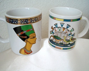 Egyptian Cups Hostess Mugs His and Hers Wedding Housewarming Large Coffee Cups Ceramics