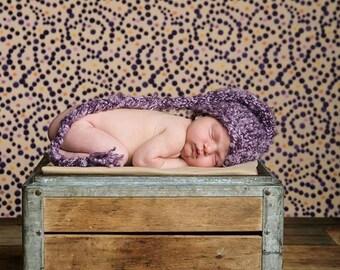 Newborn Hand Knit Shaggy Purple Elf Hat, Newborn Photography Prop, Hand Knit Hat, Baby Hat, Newborn, Hand Knit