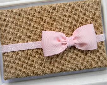 Pink Bow Headband, Infant Headband, Baby Headband, Bow Headband, Pink Glitter Headband