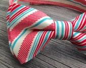 Coral Red Bow Tie - Aqua Blue Bowtie - Red and Blue Stripe Tie - Easter Bow Tie - Ringbearer Bow tie - Men's Bow Tie - Men's Pre-Tied bow