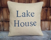 Burlap Pillow Cover - Lake House - 16 x 16 - Lake House Decor - Decorative Pillow - Rustic Lake Decor - Choose Your Colors