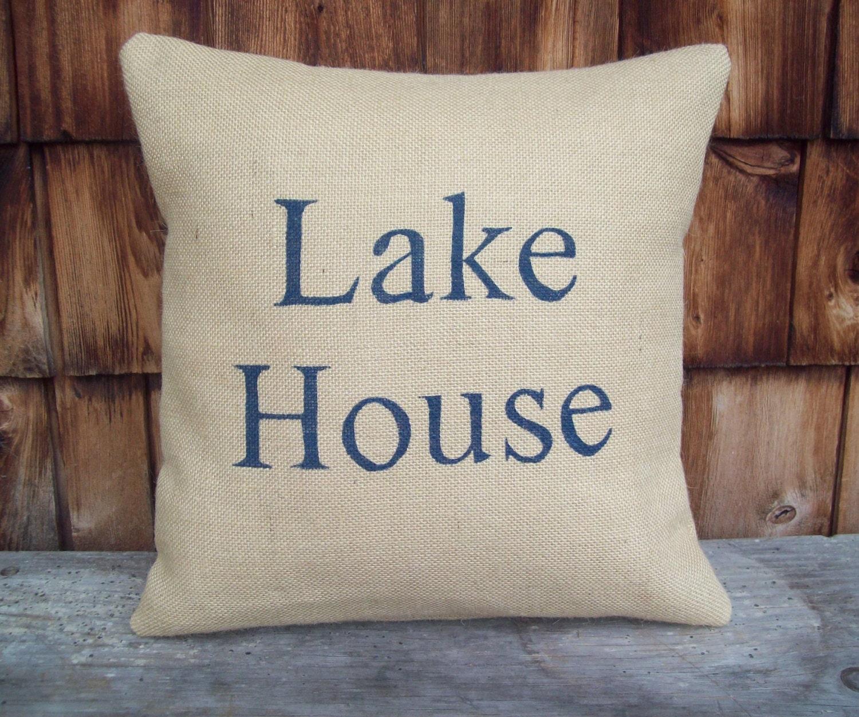 Lake House Pillow Cover Rustic Lake House Decor Burlap