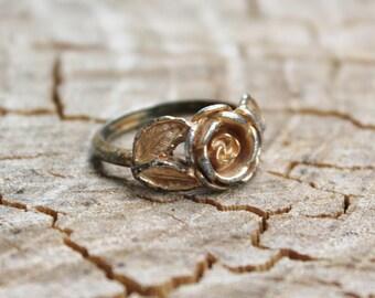 Vintage Gold  Textured Rose Ring