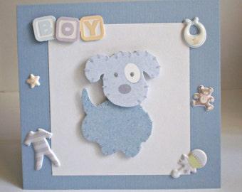 Baby Boy Card - Blue Dog, handmade baby boy greeting card, blue, welcome baby boy
