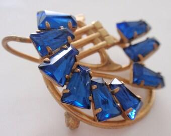 Art Deco Blue Rhinestone Brooch