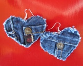 Earrings - Heart Shaped Recycled Designer AG Adriano Goldschmied  Brand Denim - Upcycled