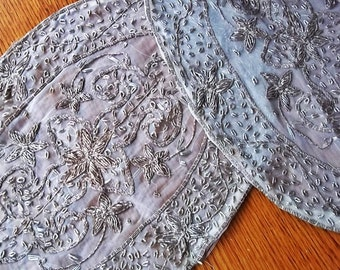 Vintage Embroidery:  2 FRENCH Oval Antique Metallic Hand Embroidery, Raised Silver/Goldwork Religious Altar Table Runners, Wedding Accessory