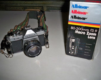 Vintage Pentax K-1000 Manual Focus 35mm Camera and Albinar 80-200mm Macro Zoom Lens