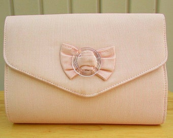 vintage 60s pink fabric clutch purse 3 way look bow detail mod scooter girl mad men wedding