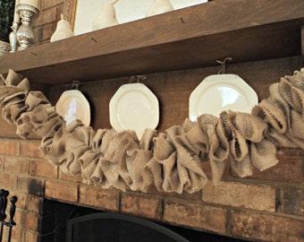 Burlap Garland Burlap Wedding Garland Rustic Garland Gathered Burlap Garland Rustic Home or Christmas Decoration