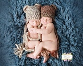 SALE Newborn Twin Bear Hats Photography Prop in Beige and Brown, over 30 colors available, sizes nb, 1-3mos, 3-6mos, 6-12mos