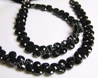 """Full 8"""" strand black SPINEL faceted heart briolette beads 6-7mm"""