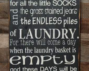 Large Wood Sign - Today I will be thankful for Laundry  - Subway Sign - Laundry Room Sign - Laumdry Room Quote - Laundry Room Inspiration