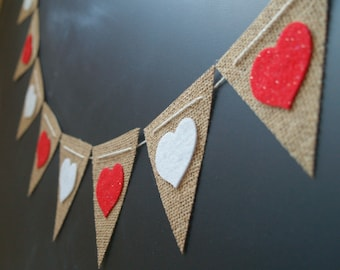 SALE Felt Red and White Hearts Burlap Bunting Garland