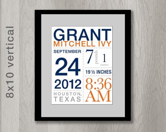 Birth Announcement Wall Art for Nursery: Fully Custom with Birth Stats - You choose colors (8x10 inches)