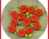 Red Rose Miniature Small Set 12 Appliques Embellishments Satin Fabric Ribbon