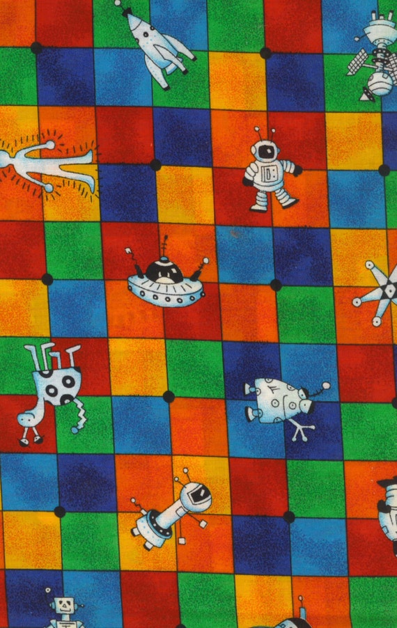 Kids fabric space spaceships aliens robots rockets cranston for Kids space fabric
