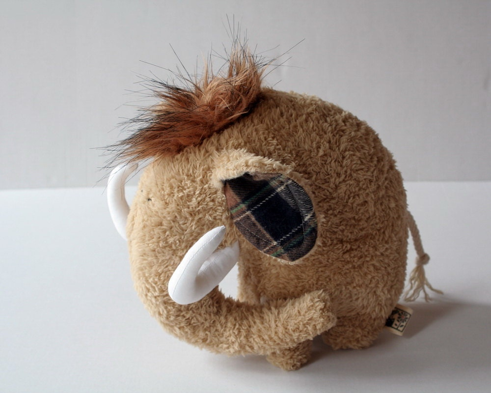 Wooly Mammoth Plushie, Soft Cuddly Baby Toy, Brown Stuffed Animal, Sleeping Fellow