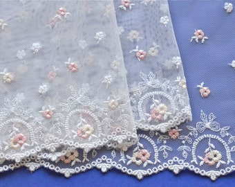White Lace Trim, Pink Pastel Fower Lace Trim, Miniature White Pastel Floral Trim, Tutus, Baby Fabric, Girls Dresses, Sweet Baby Trim