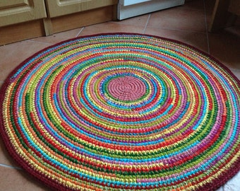 Fun colorful crochet round rug, MADE TO ORDER