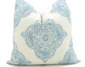 Duralee Mani Aqua and White Wood Block Decorative Pillow Cover Square, Eurosham or Lumbar Pillow Cover, Toss Pillow Throw Pillow