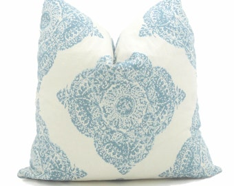 Duralee Mani Aqua and White Wood Block Decorative Pillow Cover Square, Eurosham or Lumbar Pillow Cover, Toss Pillow Throw Pillow