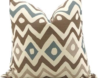 Brown and Blue Quadrille Pillow Cover Cap Ferrat 18x18 20x20, 22x22 Accent Pillow, Throw Pillow, Toss Pillow, Pillow cushion, Pillow case