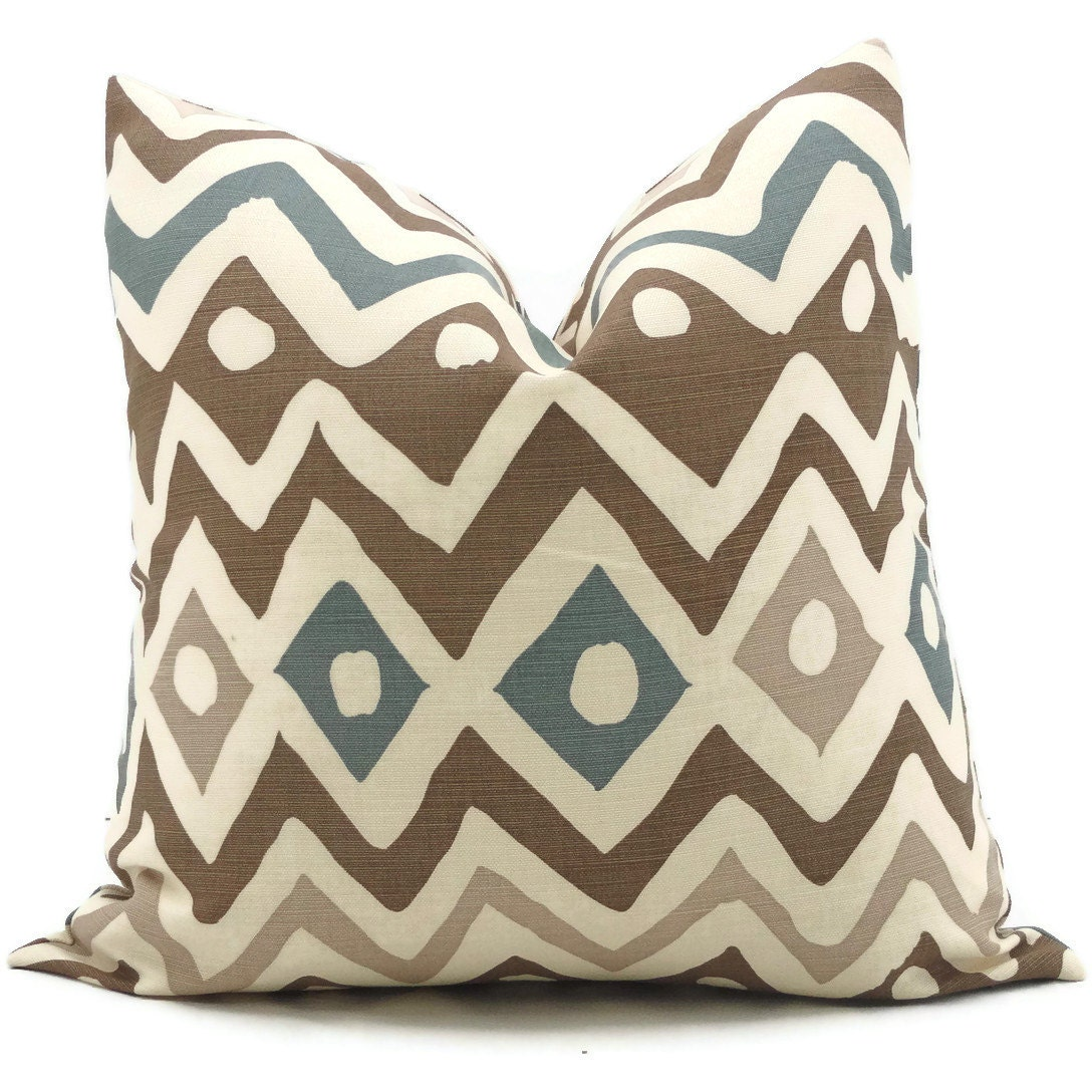 Queen Throw Pillows : Brown and Blue Quadrille Pillow Cover Cap Ferrat 18x18 20x20