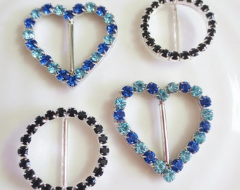 Rhinestone Buckles Trim Heart Circle Black Silver Blue (10)