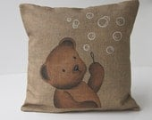 """Cushion cover shabby chic """"Teddy bubbles"""" children room, baby gift, nursery art, French decor from Paris, made in french"""