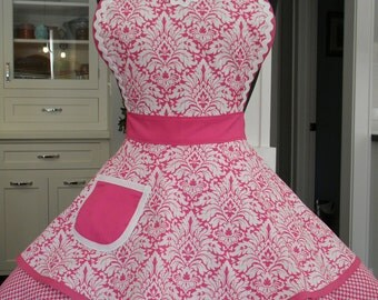 Womens Apron-Pink Damask Print Flounce Apron