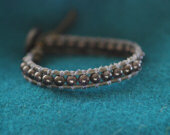 Inspired Leather Wrap Bracelet with Blue Goldstone Beads on Black Leather, Men's, Women's (B272)