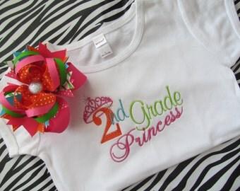 Preschool-5th Grade Princess Shirt with Matching Bow